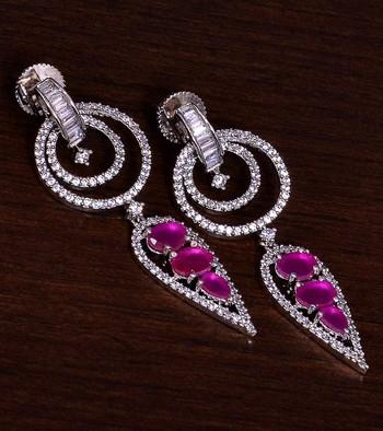 Rhodium Plated Ruby Embellished American Diamond Danglers 216ED274