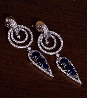 Sapphire Embellished Rhodium Plated American Diamond Earrings 216ED275