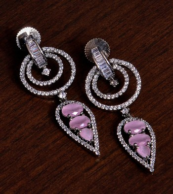 Black Gold Plated Pink Stone Embellished American Diamond Danglers 216ED278