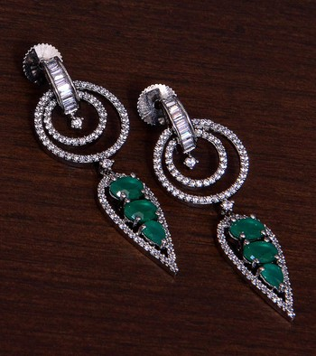 Black Gold Plated Emerald Embellished American Diamond Danglers 216ED279
