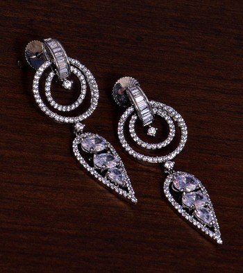 Black Gold Plated AAA CZ Embellished American Diamond Danglers 216ED281