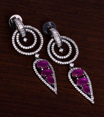 Black Gold Plated Ruby Stone Embellished American Diamond Danglers 216ED283