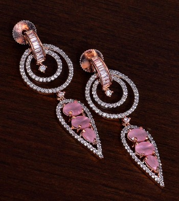 Rose Gold Plated Pink Stone Embellished American Diamond Earrings 216ED284
