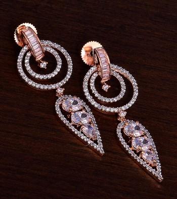 Rose Gold Plated American Diamond Earrings 216ED285