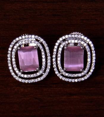 Rhodium Plated Pink Stone Embellished American Diamond Stud 216ED288