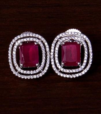 Rhodium Plated Ruby Embellished American Diamond Stud 216ED290