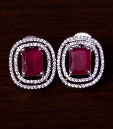 Rhodium Plated Ruby Embellished American Diamond Stud 216ED290