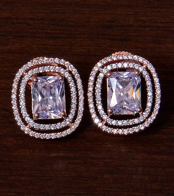 Rose Gold Plated American Diamond Stud 216ED291