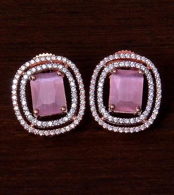 Rose Gold Plated Pink Stone Embellished American Diamond Stud 216ED293