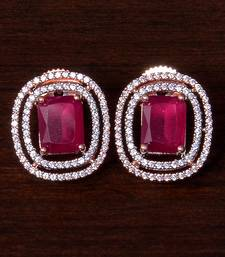 Rose Gold Plated Ruby Embellished American Diamond Stud 216ED295