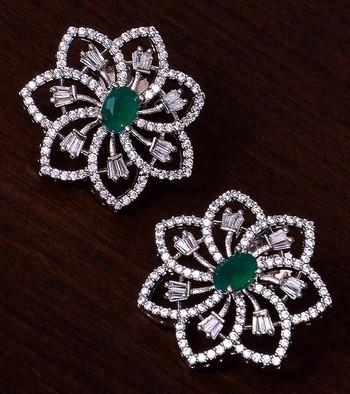 Emerald Embellished Rhodium Plated American Diamond Earrings 216ED297