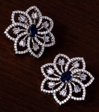 Sapphire Embellished Rhodium Plated American Diamond Earrings 216ED298