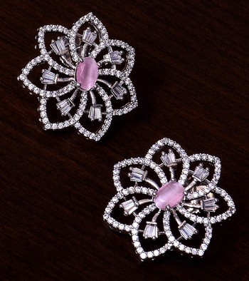 Pink Stone Embellished Rhodium Plated American Diamond Earrings 216ED299