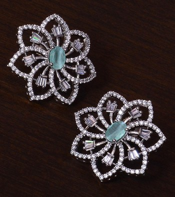 Mint Stone Embellished Rhodium Plated American Diamond Earrings 216ED300