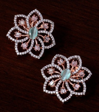 Mint Stone Embellished Rose Gold Plated American Diamond Earrings 216ED301