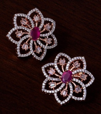 Ruby Embellished Rose Gold Plated American Diamond Earrings 216ED303