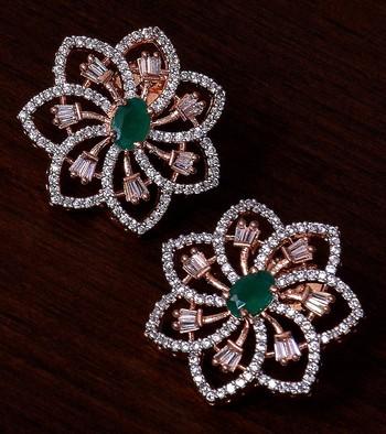 Emerald Embellished Rose Gold Plated American Diamond Earrings 216ED304