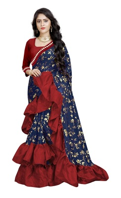 Blue printed fancy fabric saree with blouse