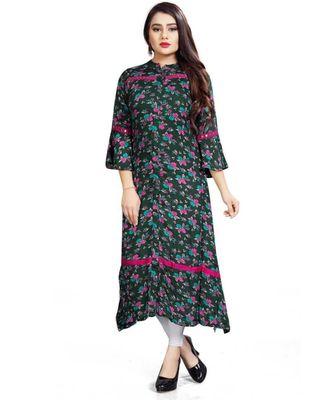 Dark Green Floral Women's Designer Indian Ethnic Ready To Wear Kurti