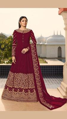 Maroon embroidered faux georgette salwar