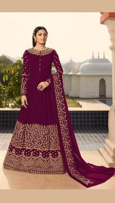 Rani-pink embroidered faux georgette salwar