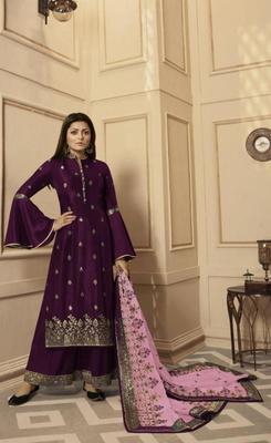Purple embroidered raw dupion silk salwar