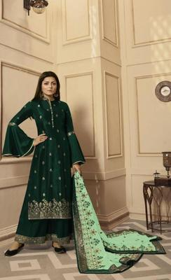 Green embroidered raw dupion silk salwar