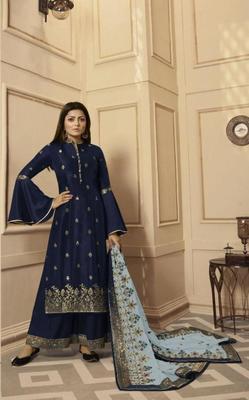 Blue embroidered raw dupion silk salwar