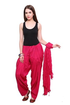 Pink cotton Patiala with cotton Dupatta
