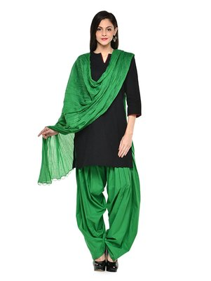 green cotton Patiala with cotton Dupatta