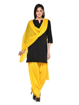 Yellow cotton Patiala with cotton Dupatta
