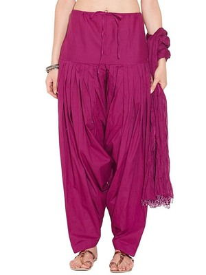 magenta cotton Patiala with cotton Dupatta