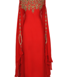 Red embroidered georgette islamic-kaftans