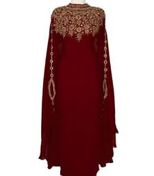 Maroon embroidered georgette islamic-kaftans