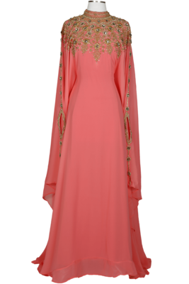 Peach Colour embroidered georgette islamic-kaftans