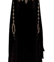 Black  embroidered georgette islamic-kaftans