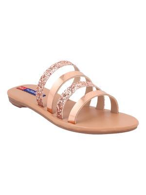 pu Stylish Embriodery metallic Flat Sandal For Women