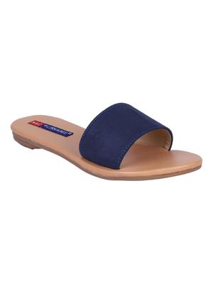 suede Stylish Embriodery blue Flat Sandal For Women