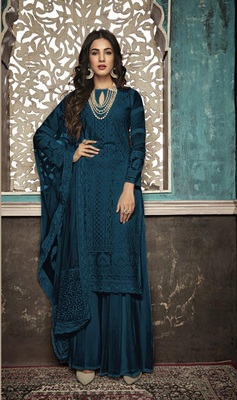 Dark-sky-blue embroidered faux georgette salwar