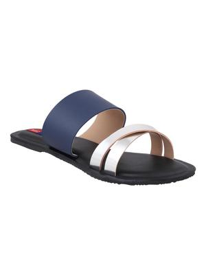 leatherette Stylish Embriodery blue Flat Sandal For Women