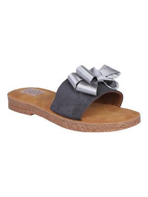 suede Stylish Fancy grey Flat Sandal For Women