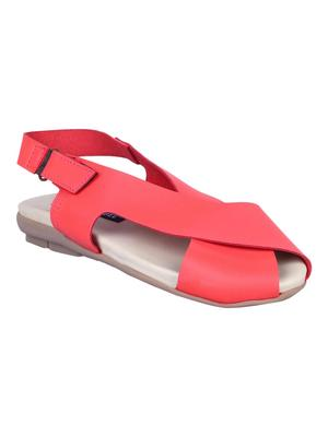 leatherette Stylish red Flat Sandal For Women