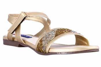 stylish fancy Gold Flat Sandals For women