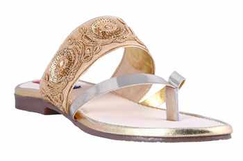 Synthetic stylish fancy Gold Flat Sandals For women