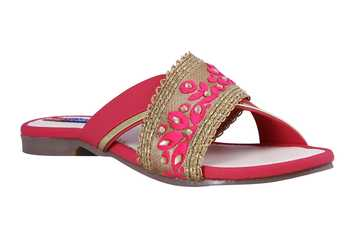 Synthetic stylish fancy Pink Flat Sandals For women