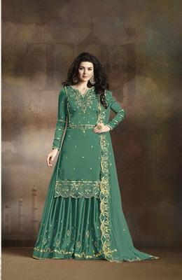 Sky-blue embroidered silk salwar