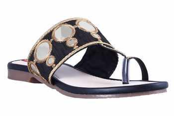 Synthetic stylish fancy Black Flat Sandals For women