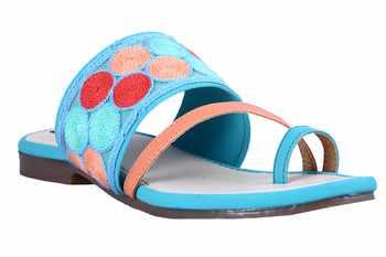 Synthetic stylish fancy blue  Flat Sandals For women