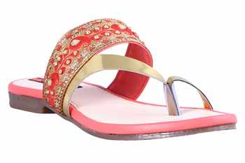 Synthetic stylish fancy red Flat Sandals For women