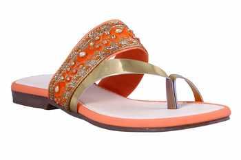 Synthetic stylish fancy Orange Flat Sandals For women